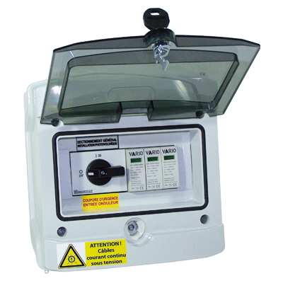 Coffret parafoudre DC pour 1 à 2 chaines PV et 1 tracker MPPT