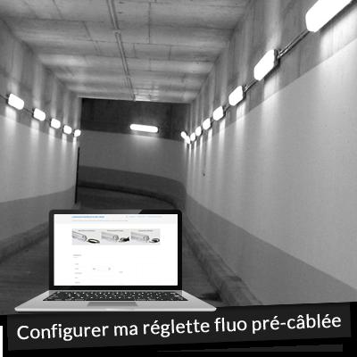 Réglette fluo pré-câblée sur mesure